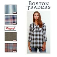 SALE Boston Traders Women's Lightweight Hooded Flannel Shirt VARIETY SZ/CLR B25