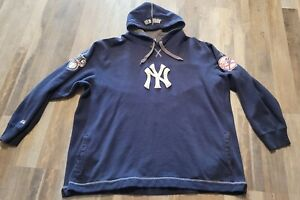 AUTHENTIC MLB 2XL XXL NEW YORK YANKEES PULLOVER HOODIE POCKETS MENS BLUE