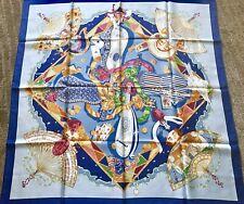 Authentic Hermes Scarf AU CLAIR DE LA LUNE 90cm Silk Foulard SANDRA LAROCHE