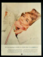 Vtg 1962 Bell Telephone System pink bedroom phone advertisement print ad art