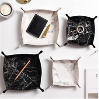 Leather Storage Organizer Foldable Tray Box Valet Key Phone Coin Box
