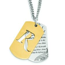 REMINGTON Stainless Steel 2nd Amendment Gold IP Dog Tag Necklace