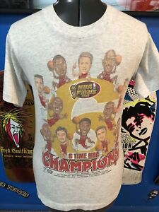 Vintage 1998 Chicago Bulls Caricature 6 Time NBA Champions  Shirt  Small