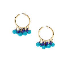 Kenneth Jay Lane Fashion Blue Goldtone Guru Hoop Earrings Pierced QVC