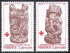 France 1980 Red Cross/Medical/Health/Welfare/Carving/Art/Grapes/Wine 2v (n30554)