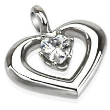 Anhänger Kettenanhänger Herz aus Edelstahl silber mit Kristall in clear NEU