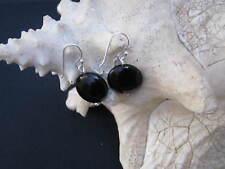 Onyx Ohrhänger  echt Silber Hänger Ohrringe Silber schwarz rund klassisch S37