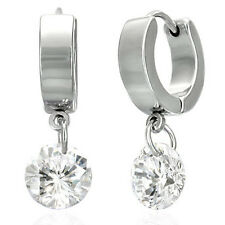 Stainless Steel Circle Drop (Dangle)  Hoop Huggie Earrings w/ CZ