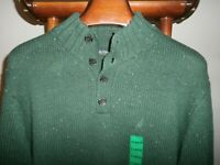 NAUTICA -NWT- XL Thick Wool Blend 4 Button Mock Neck Logo Sweater -FAST SHIP-