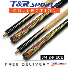 "2x 3/4 2-Piece Jupiter Snooker Cue 57"" 9.5mm Tip for Pool Billiard Free Post"