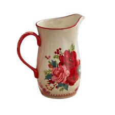The Pioneer Woman Cheerful Rose 2.54-Quart Red and White Ceramic Pitcher