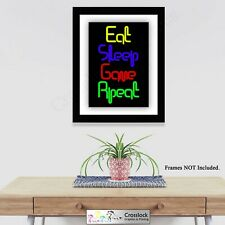 Eat sleep game repeat Gaming picture Poster Print ONLY Wall Art A3