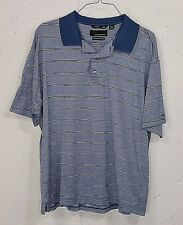 Greg Norman 60/2 Double Mercerized Mens Blue Striped Short Sleeve Polo Shirt XL