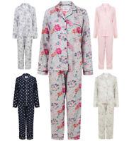 Ladies Pyjamas Set Button Up Long Sleeve Ex Store Elasticated Waist Boyfriend