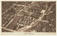 Paris Cite Island Ile de la Cite Seine France Aerial View Old Antique Postcard