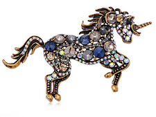 Vintage Inspired Blue Silver Crystal Rhinestone Horse Pin Brooch Jewelry Gift
