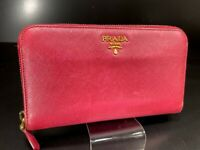 Auth PRADA Logos Leather Long Zip Around Wallet Purse Red B1127-149-1
