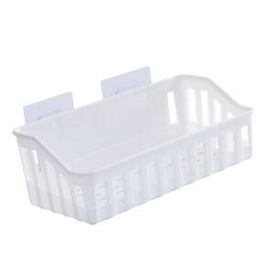 Plastic Self Adhesive Bathroom Storage Shelf Kitchen Rack Caddy White