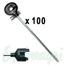 Electric Fence 100 x Distance Screw Ring Insulators + Spinner Tool