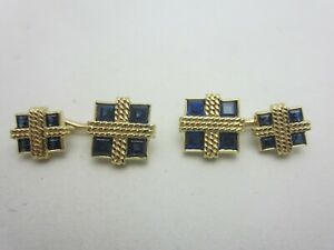 Vintage 18K and 14k Yellow Gold and Blue Sapphire Cuff Links Squares