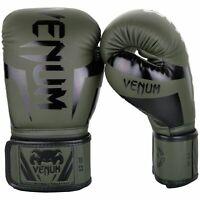 Venum Boxing Gloves Elite Khaki Black Muay Thai Kickboxing MMA Sparring Training