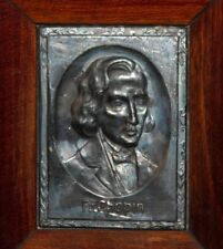 Vintage small metal/wood wall decor plaque Frederic Chopin