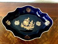 Vintage Limoges made and hand embellished in France cobalt /24 k.porcelain plate