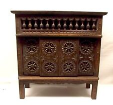 Antique Breton French Doll Miniature Bed Box Armoire Lit Clos Chip Carved Wood