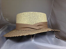 SCALA PRO * GAMBLER HAT L XL * NEW MEN PANAMA STYLE SHADY TOYO STRAW FEDORA GOLF