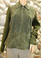 New Women's Live A Little Sage Green Leather Suede Sweater Sleeves Jacket  M
