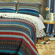 Beautiful Boho Bohemian Quilt Set Blue Red Stripe Chevron Print Bedding Twin