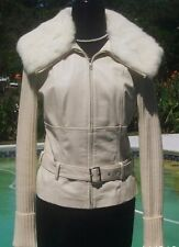 Cache Leather Fur Wool Rib Knit Belt with Top New Size S/M/L Lined Stretch $395