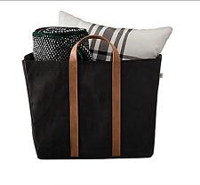 Hearth Hand Magnolia Storage Bin Tote Black Bag Purse Faux Leather Handles Large