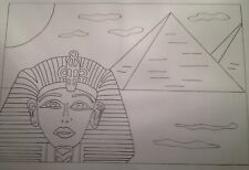 King Tutankhamun iron on Embroidery transfer 2 x Large A3 size By Webster's