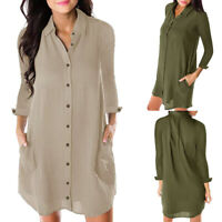 Women Long Sleeve Dress Cotton Baggy Blouse Shirt Dress Summer Tunic Tops
