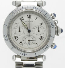 CARTIER STAINLESS STEEL 38 MM PASHA CHRONOGRAPH WATCH 1050