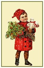 Christmas Scene # 710 Boy With Presents Holly Counted Cross Stitch Pattern