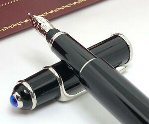 Cartier Diabolo Ladies Mini Black Platinum Trim Fountain Pen 18K Gold Nib