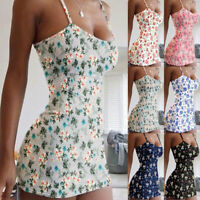 Womens Sexy Floral Sleeveless Mini Dress Summer Bodycon Clubwear Cami Dresses