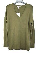Chelsea Womens V-Neck Wool Blend Long Sleeves Side Slit Pullover Sweater 28 XS