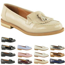 WOMENS LADIES FLAT CASUAL OFFICE PATENT FAUX LEATHER FRINGE TASSEL LOAFERS SHOES