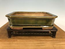 Green Rectangle Glazed Shohin Size Bonsai Tree Pot By Heian Kosen 5 7/8�