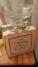 "Vintage 1981 Avon 6"" Holiday Compote Bowl Candy Dish Christmas Holly Berry"