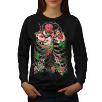 Wellcoda Skull Flower Womens Sweatshirt, Festival Casual Pullover Jumper