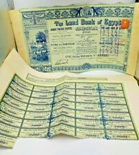 More details for 1905 original land bank of egypt share certificate & separate sheet of coupons
