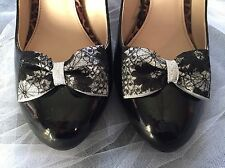 Silver Shoe Clips 4 Shoes Black Bows Lace Pinup Rockabilly Vintage Burlesque ❤️