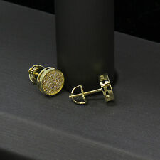 Men's Gold Hip Hop Iced Out Small Round Flat Screen Screw Back Stud Earring E92