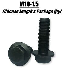 (Choose Length & Qty's) M10-1.5 Grade 10.9 Metric Flange Bolts Black Phos & Oil