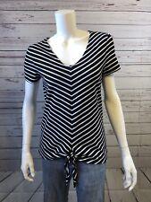 Womens Jones New York Signature Black & White Striped Tie Knot Shirt Sz Small