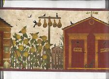 WALLPAPER BORDER OUTHOUSE BATHROOM COUNTRY FOLK ART NEW ARRIVAL PRIMITIVE BROWN